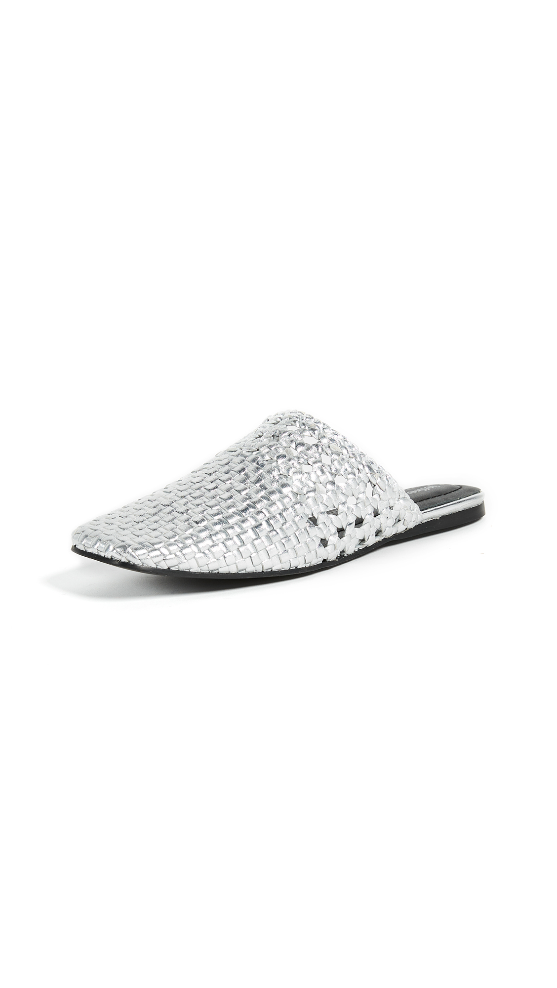 Jeffrey Campbell Vaal Woven Mules - Silver