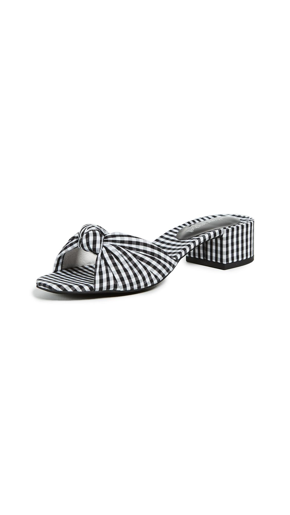 Jeffrey Campbell Beaton Gingham Slides - Black/White