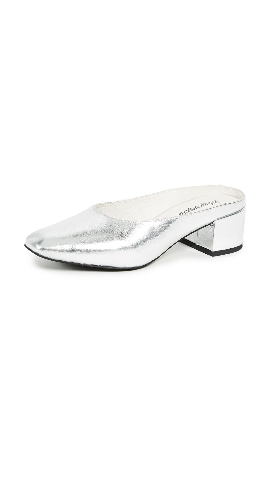 Jeffrey Campbell Oceane Block Heel Metallic Pumps - Silver