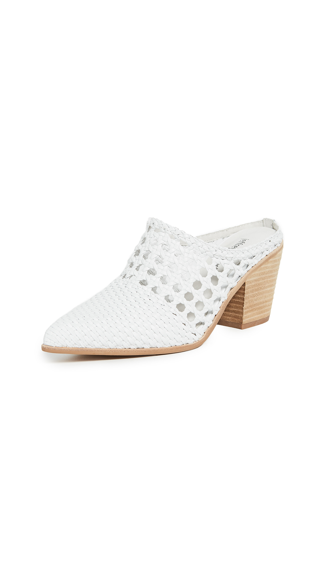 Jeffrey Campbell Leone Woven Mules - White/Natural