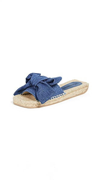 DENIM BOW SLIDES