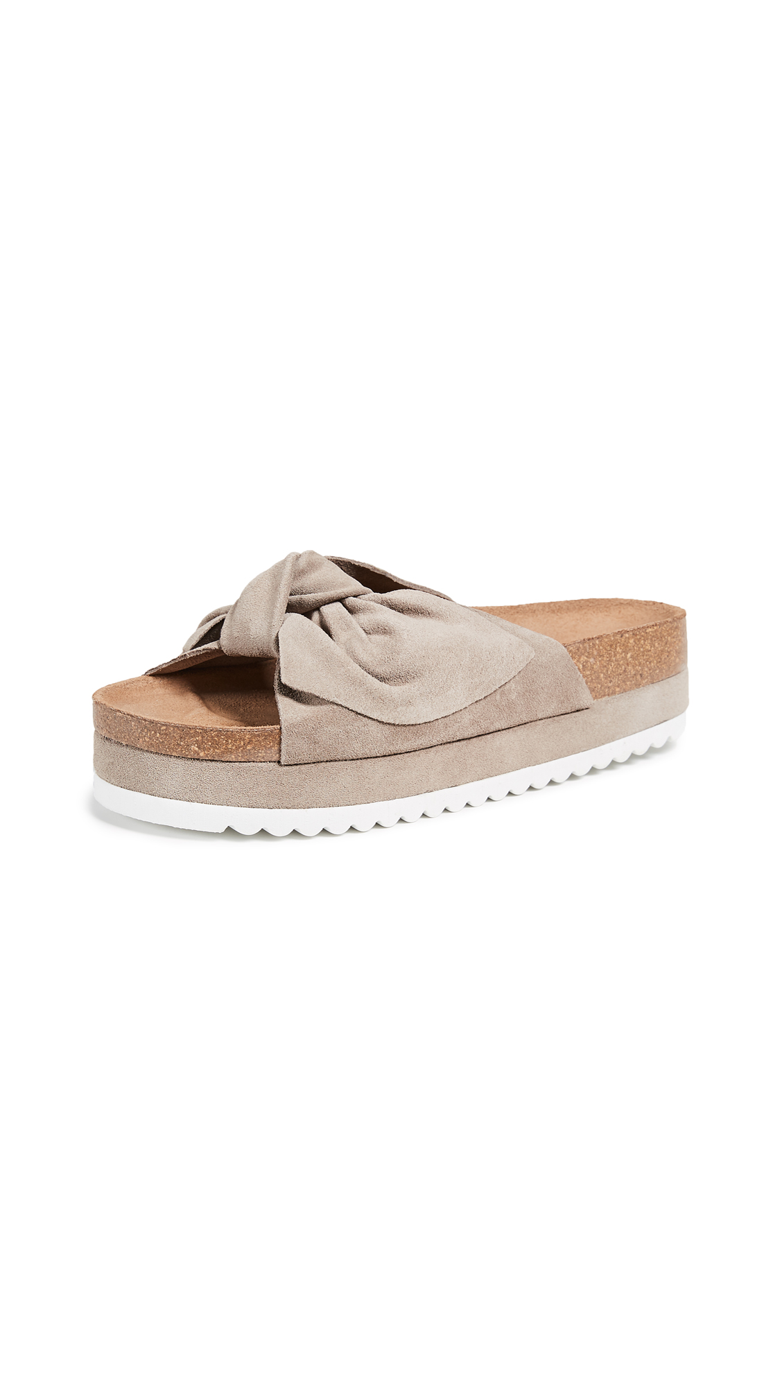 Jeffrey Campbell Rotuma Bow Slides - Taupe
