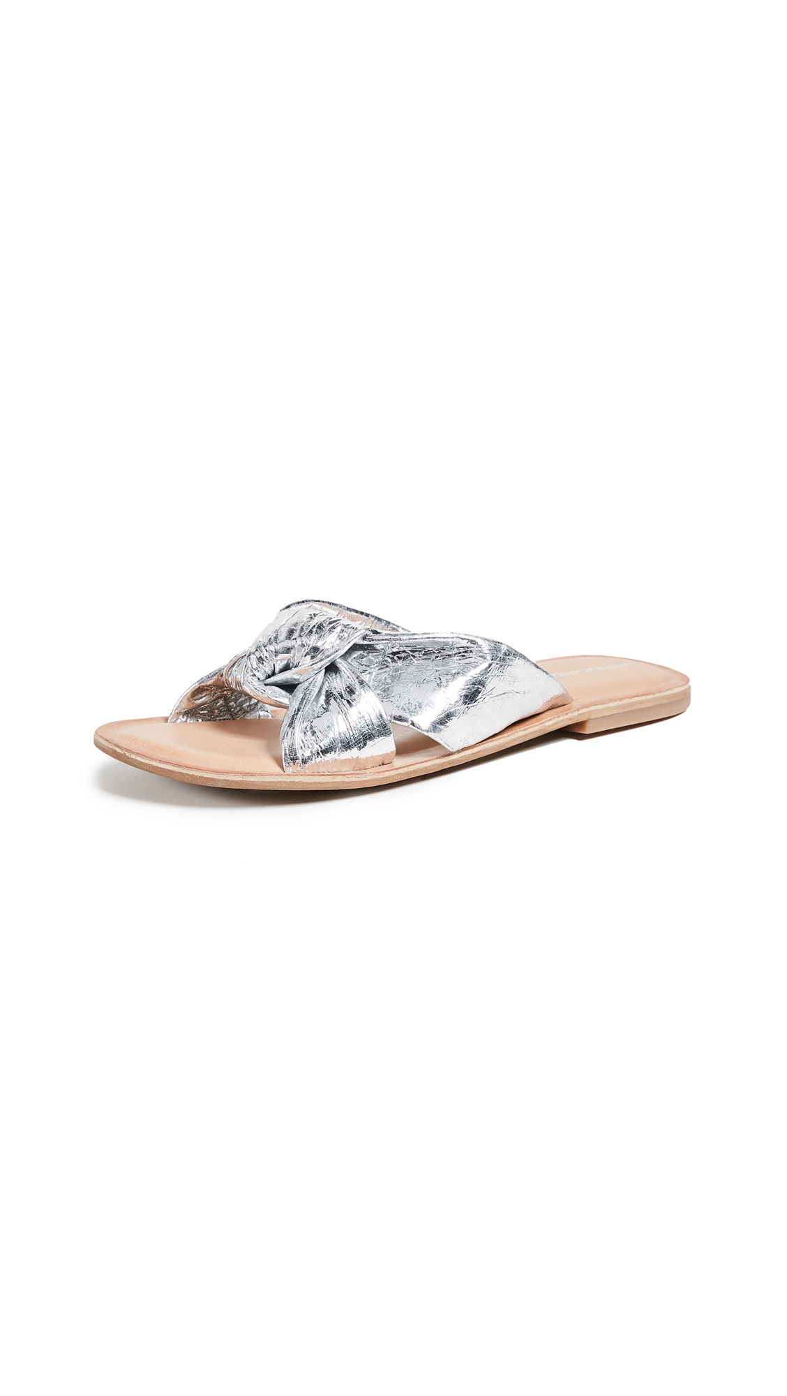 Jeffrey Campbell Zocalo Metallic Slides - Silver