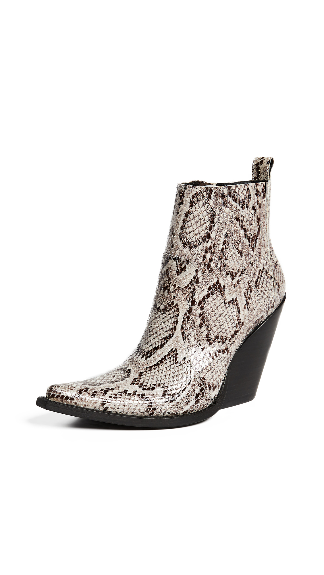 Jeffrey Campbell Homage Point Toe Booties - Beige Snake