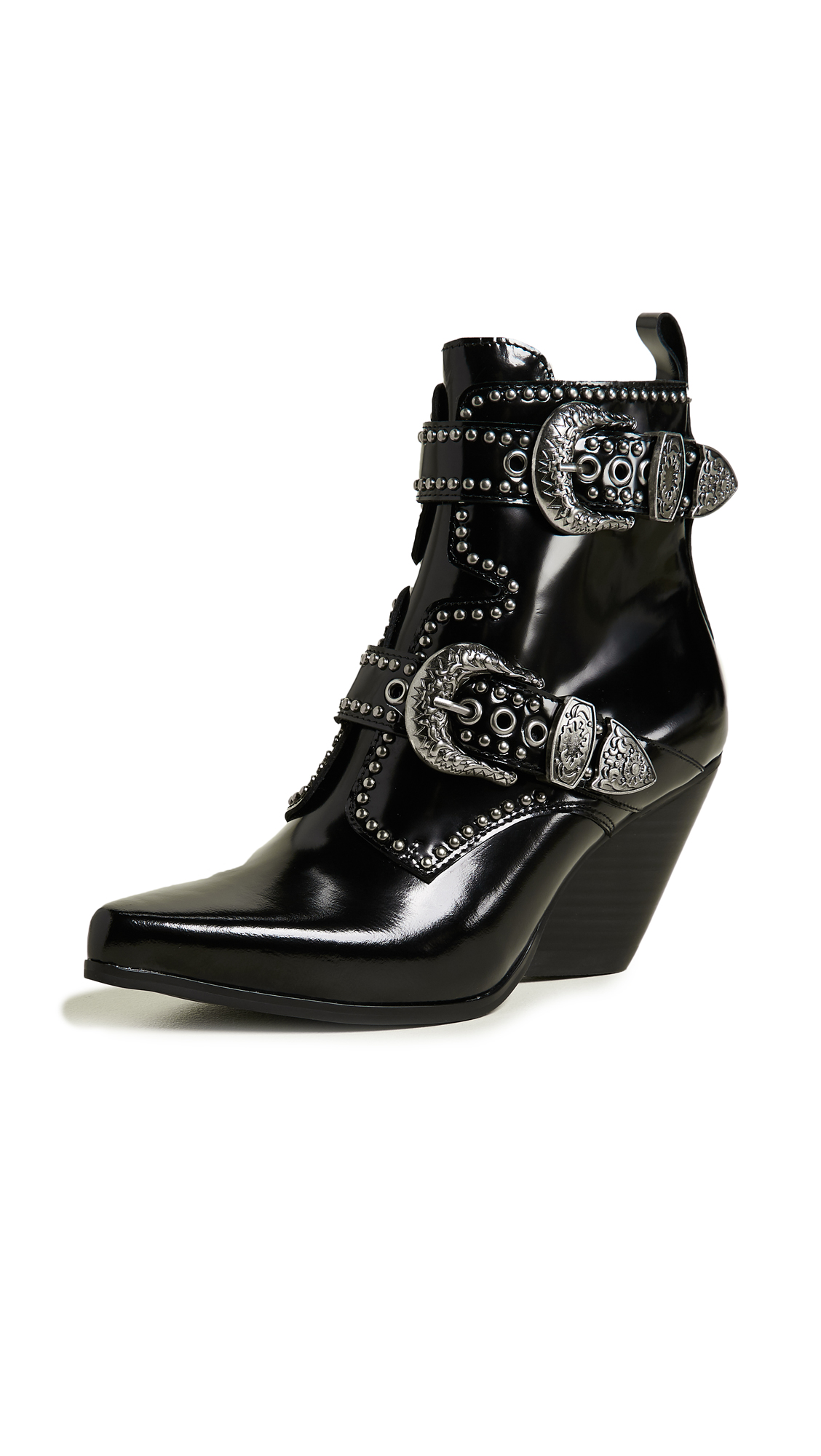 Jeffrey Campbell Welton Buckle Booties - Black Box