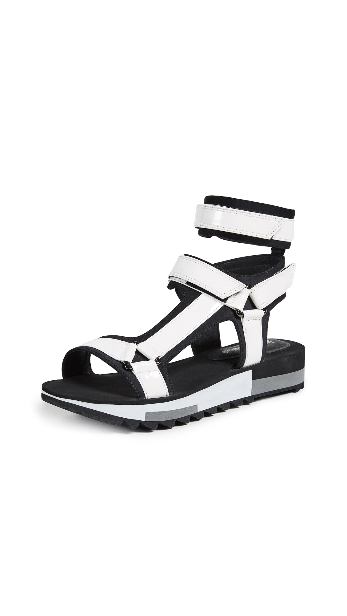 Jeffrey Campbell Bayport Sporty Sandals - White/Black
