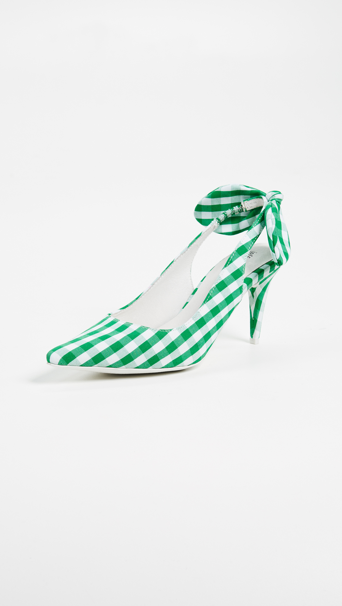Jeffrey Campbell Cindy Gingham Pumps - White/Green