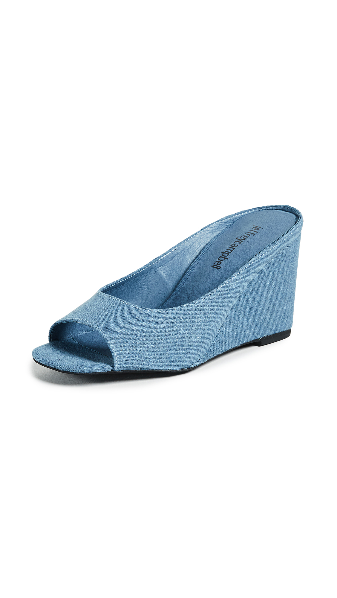 Jeffrey Campbell Generous Peep Toe Wedges - Blue Denim