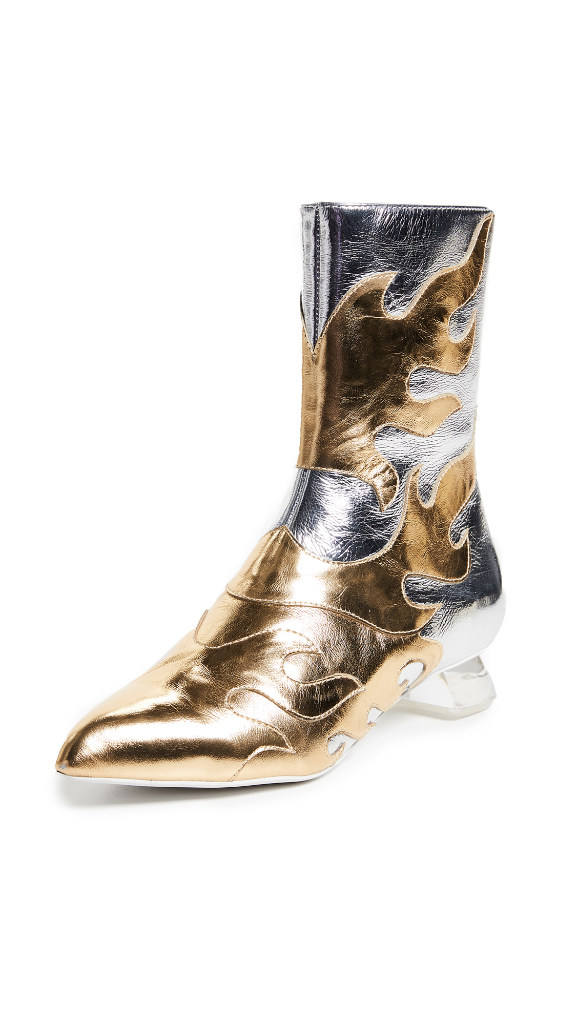 Jeffrey Campbell Skyrocket Flame Ankle Boots - Silver/Gold