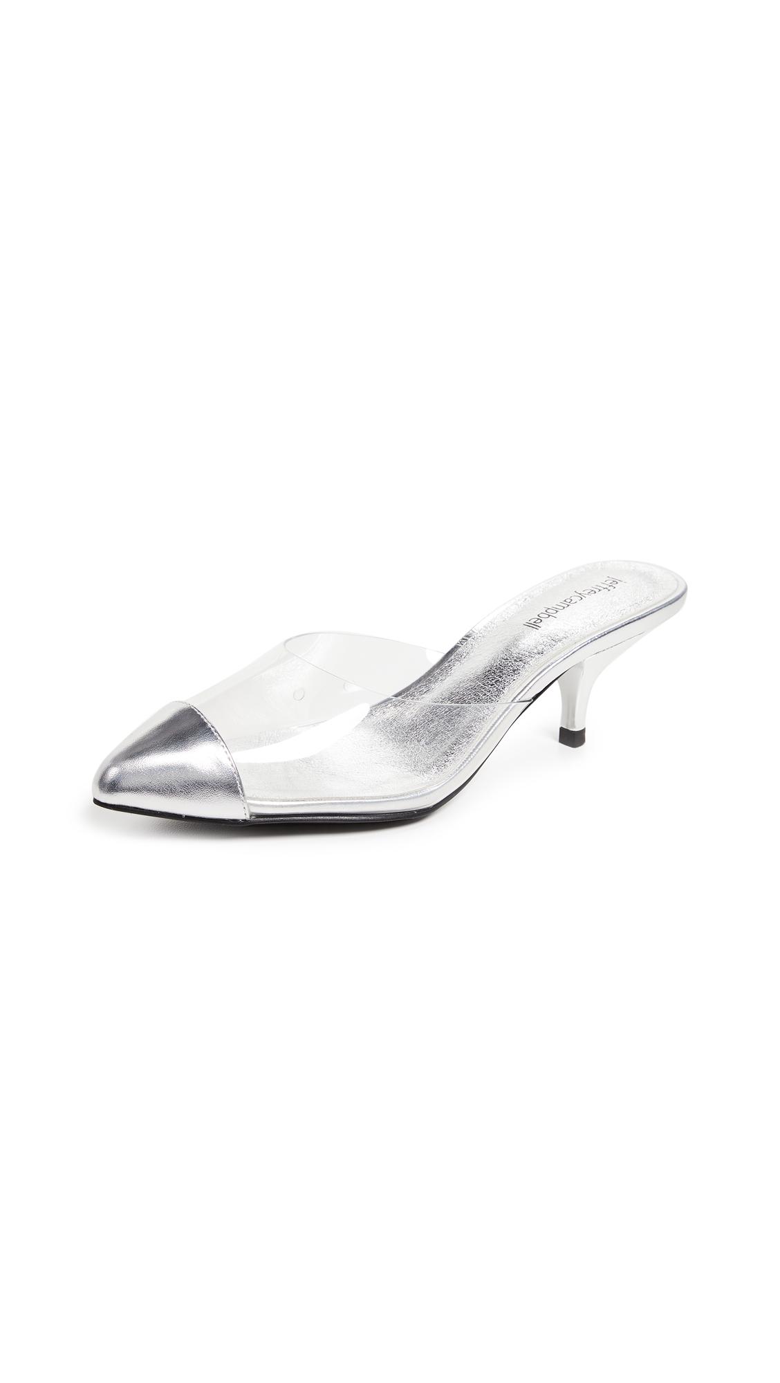 Jeffrey Campbell Jena Kitten Heel Point Toe Mules - Clear Silver