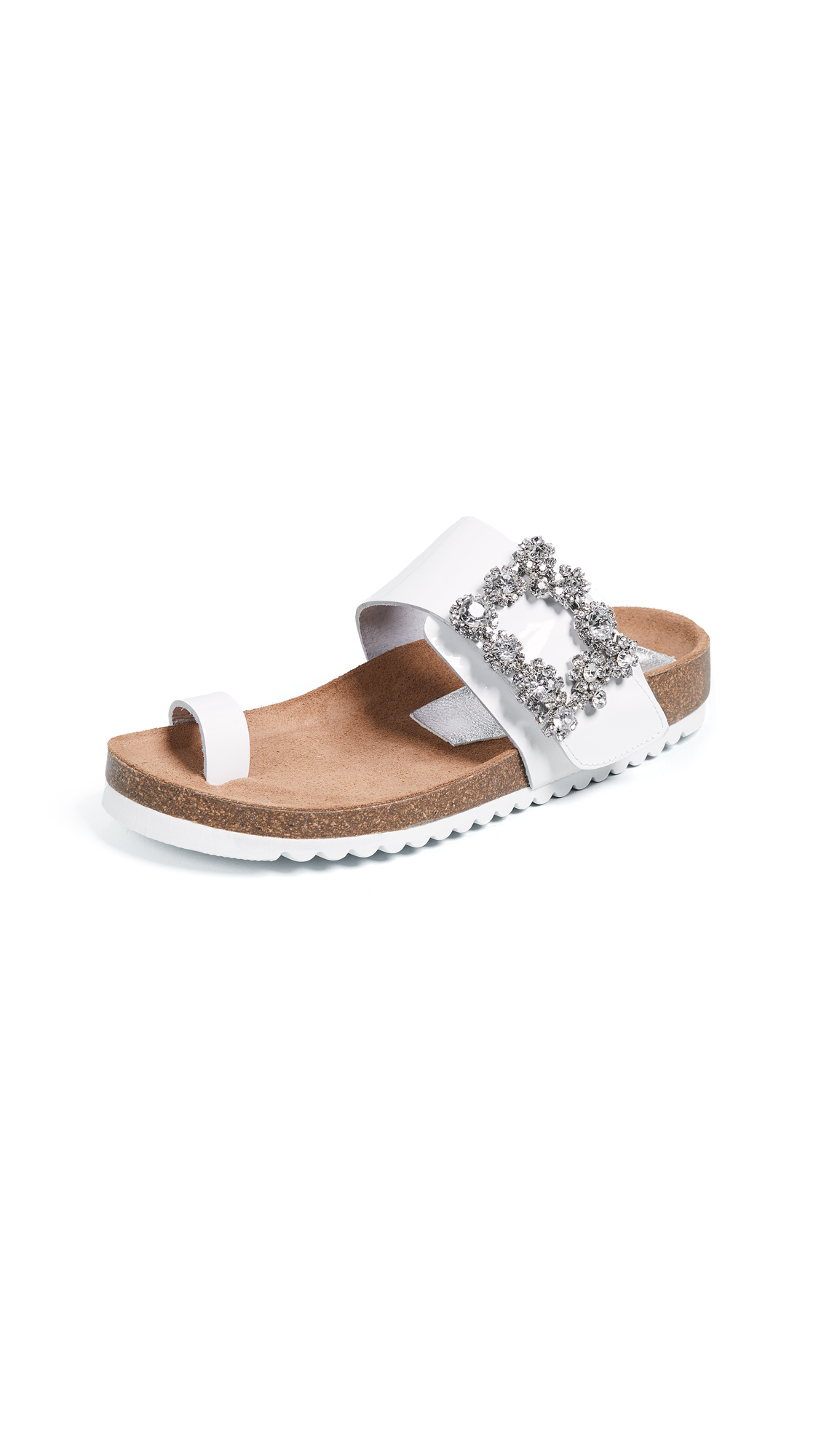 Jeffrey Campbell Bianca Toe Ring Slides - White/Silver