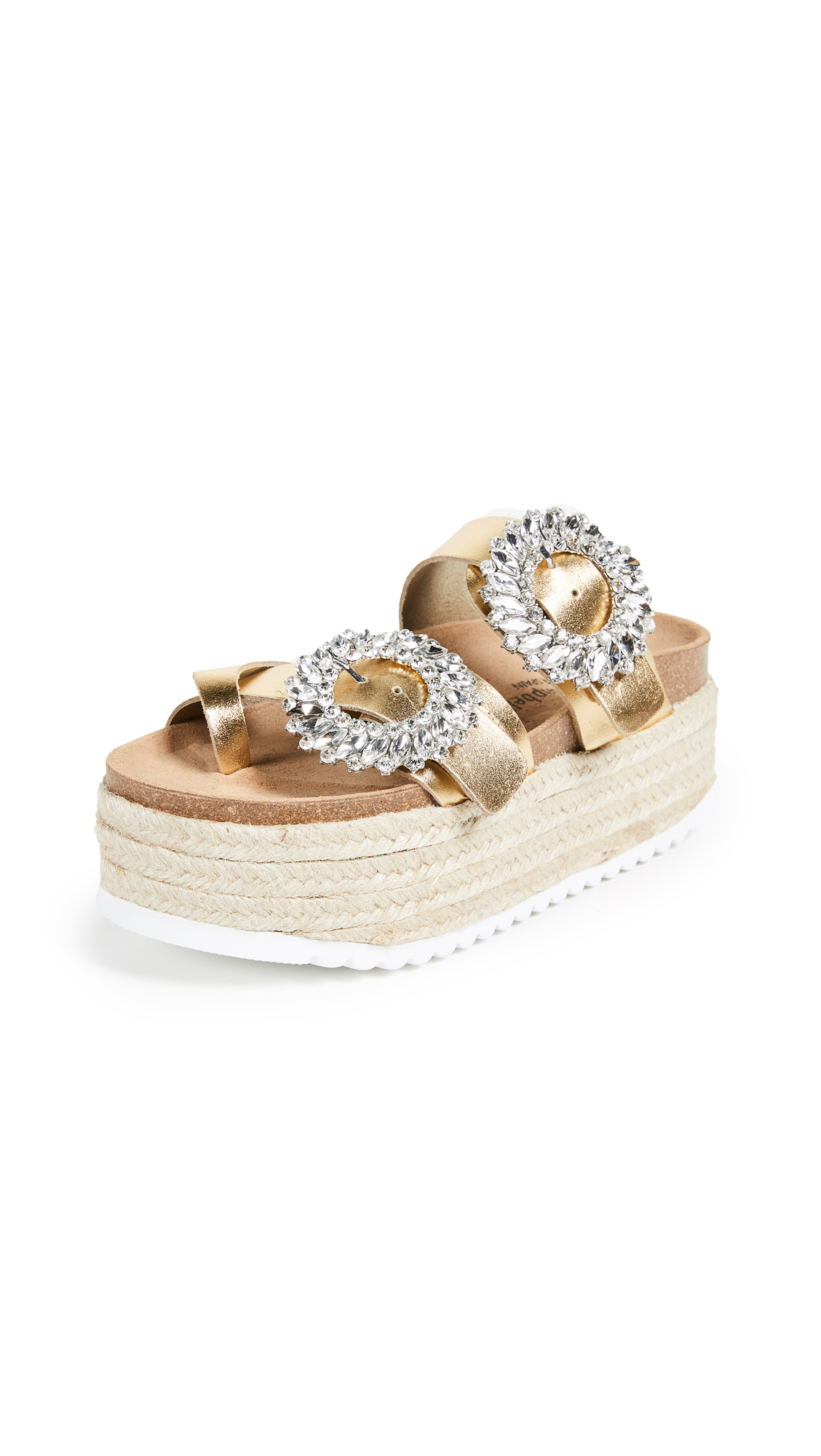 Jeffrey Campbell Bora Double Strap Slides - Gold/Silver