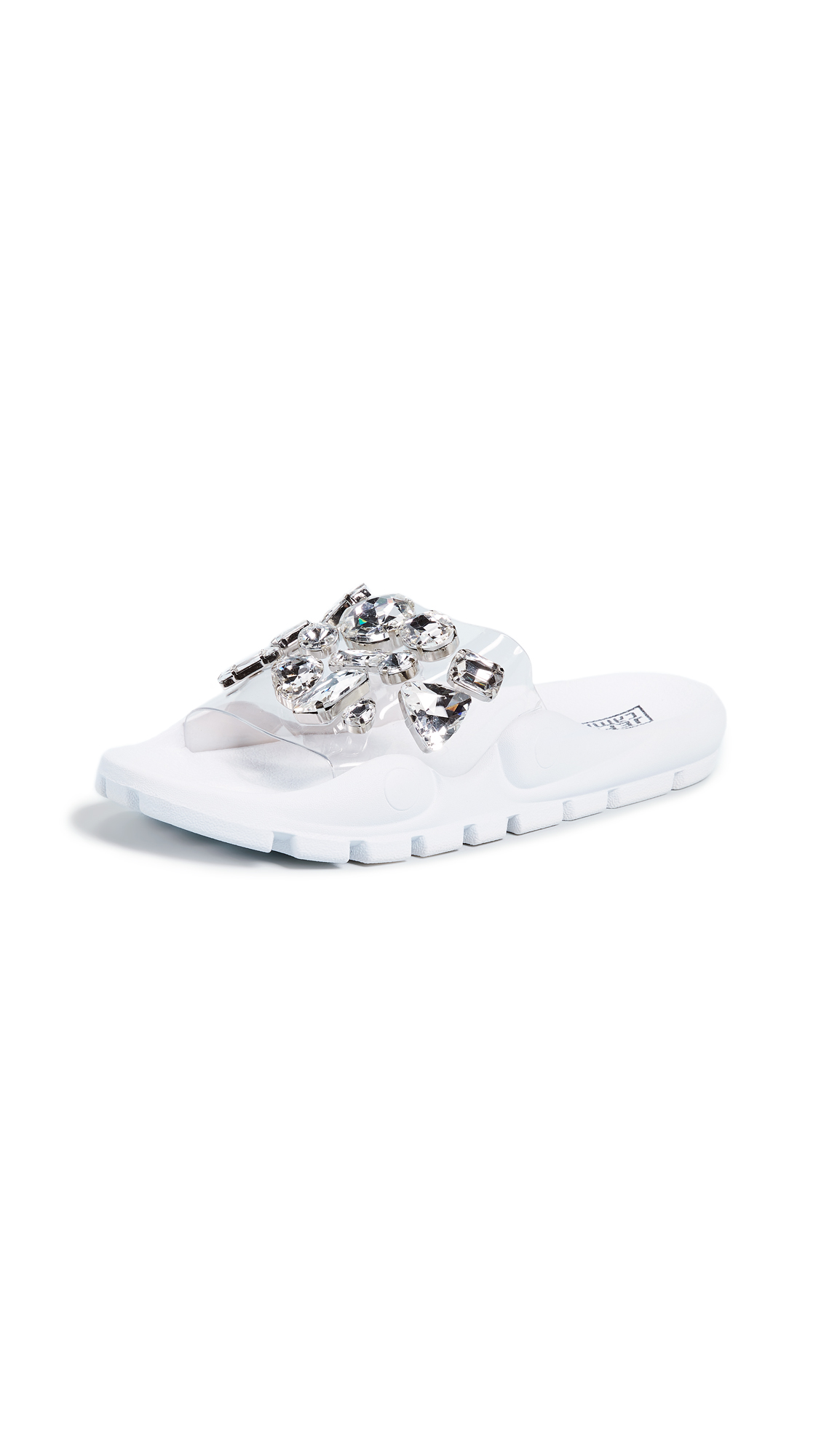 Jeffrey Campbell Aspic PVC Slides - Clear/White
