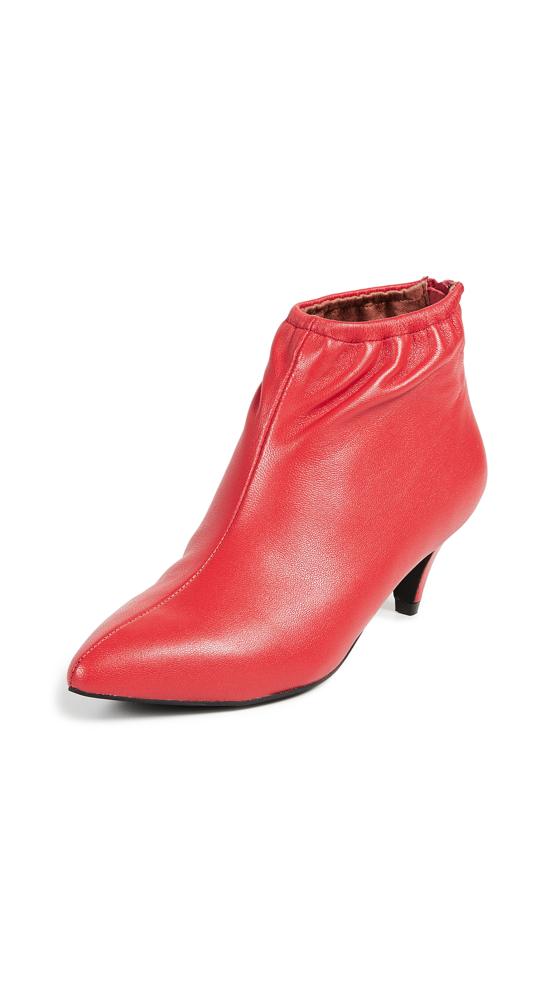 Jeffrey Campbell Zosia Low Heel Booties - Red