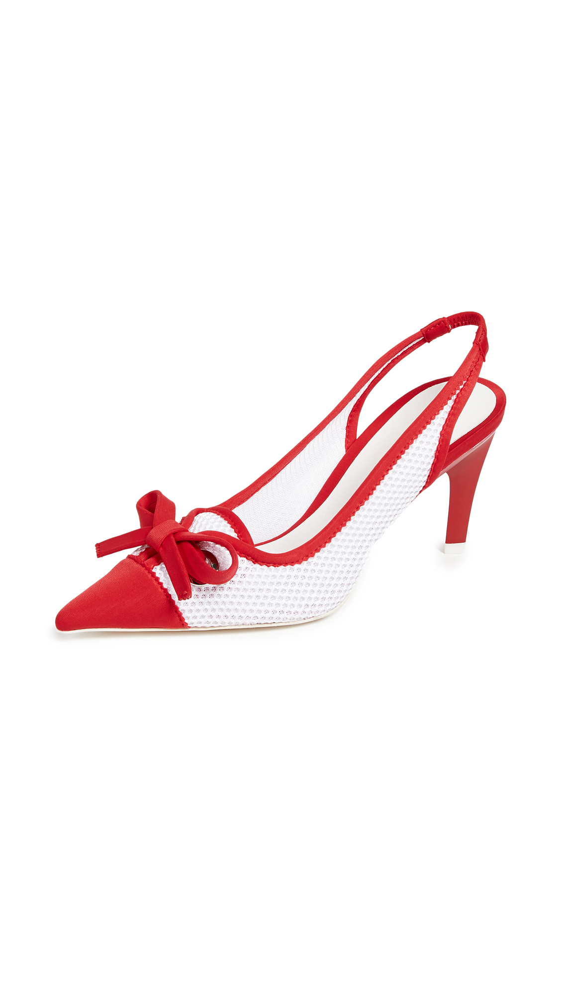 Jeffrey Campbell Cecily Point Toe Slingback Pumps - Red/White