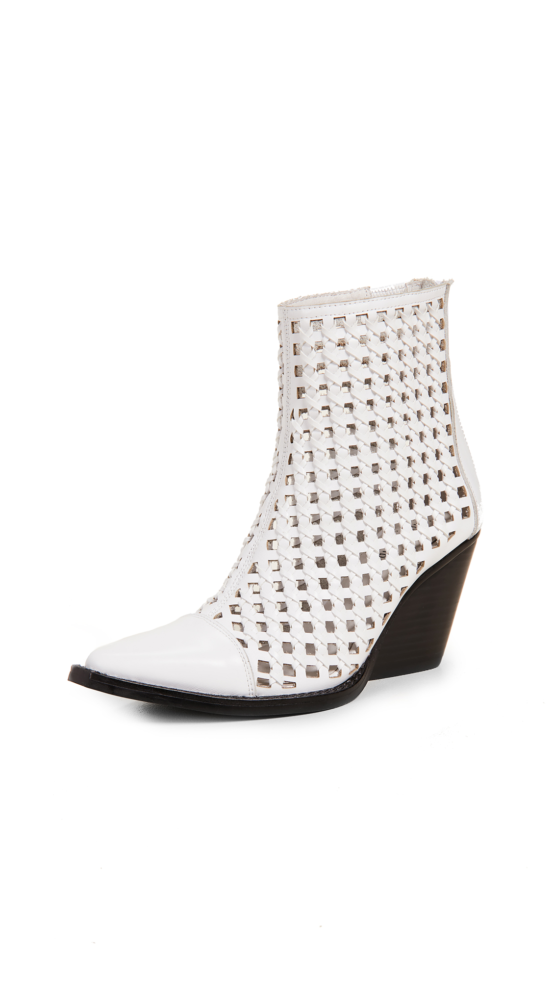Jeffrey Campbell Waven Woven Boots - White