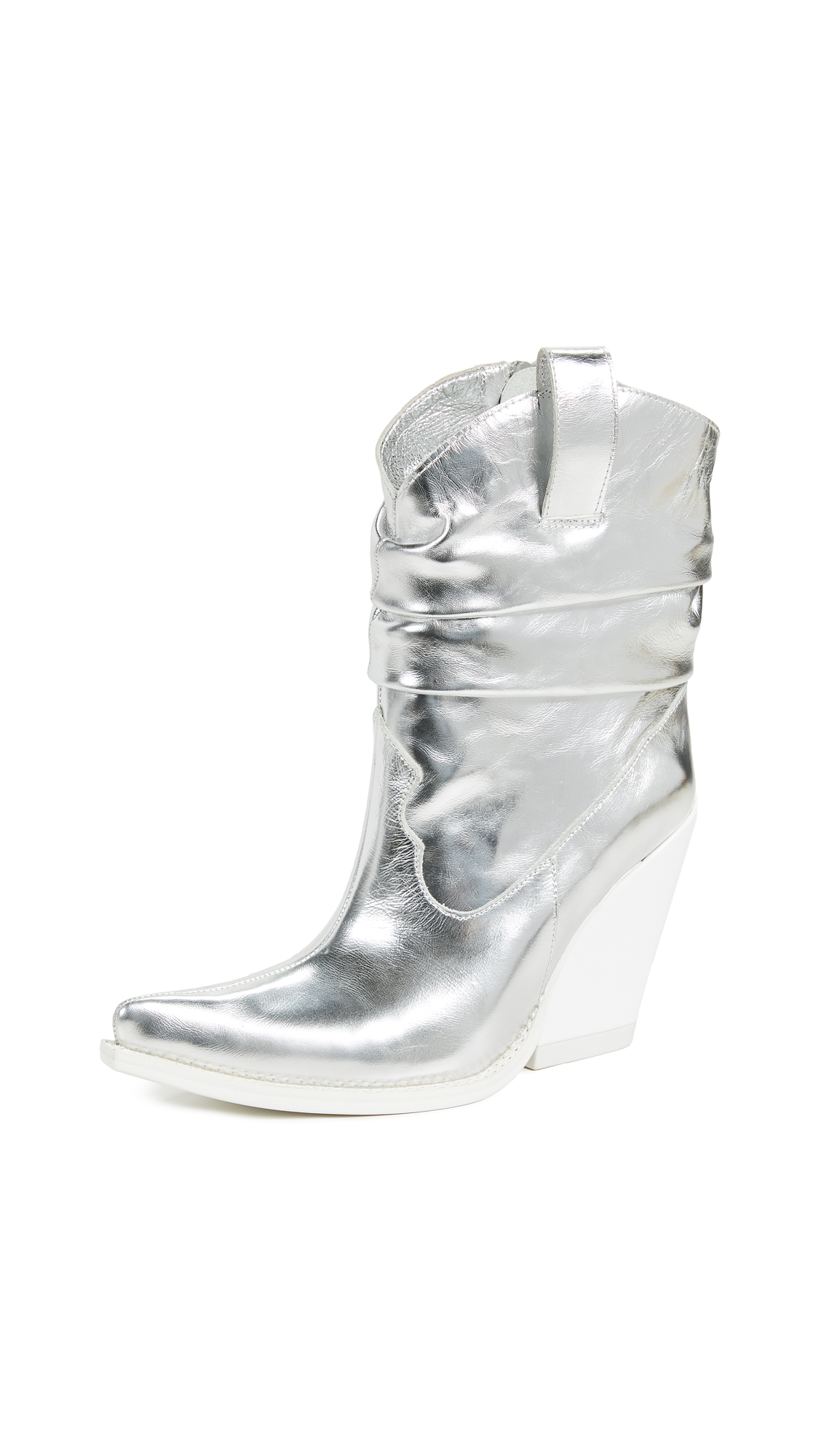 Jeffrey Campbell Volcanic Western Boots - Silver/White