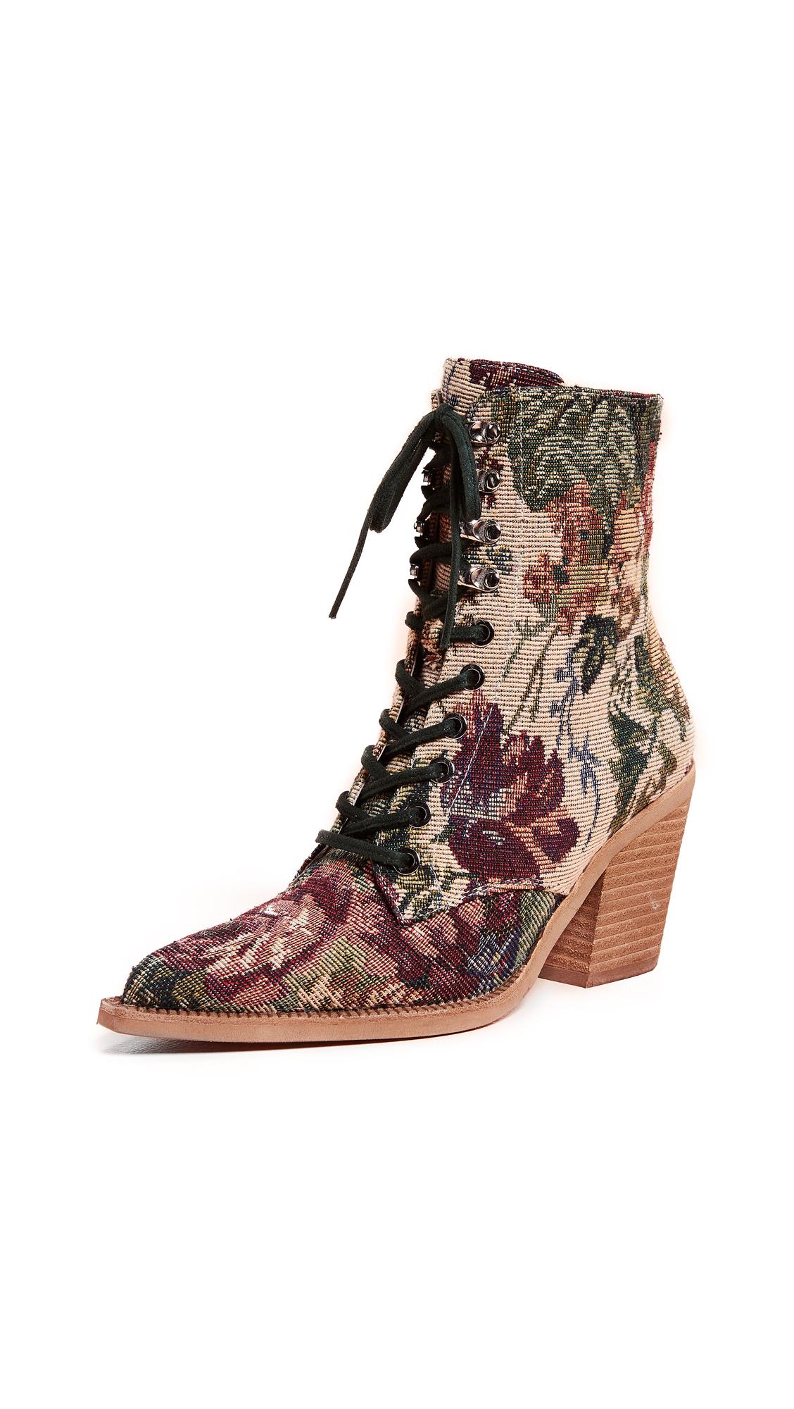 Jeffrey Campbell Elmace Lace Up Boots - Beige/Pink Floral