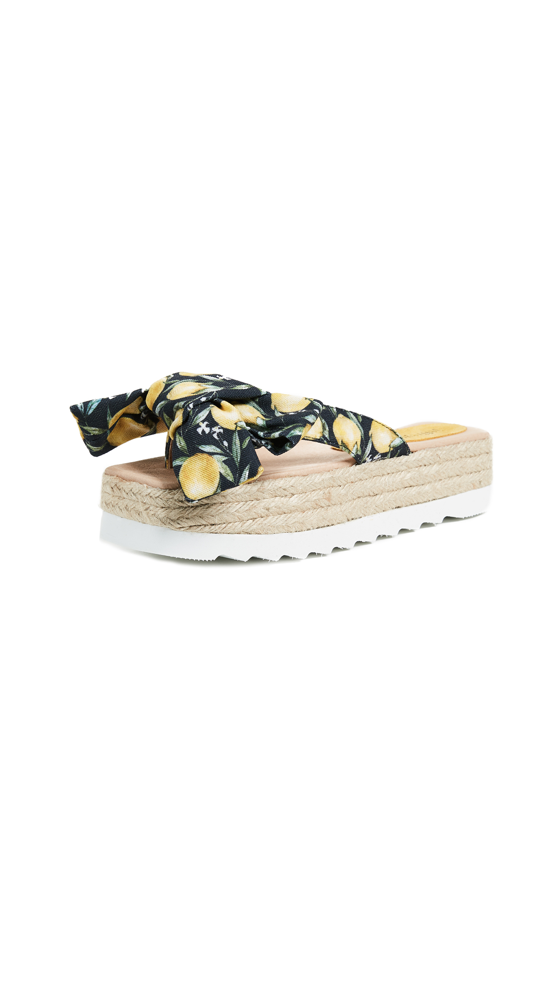 Jeffrey Campbell Printed Bow Platform Slides - Lemon Print