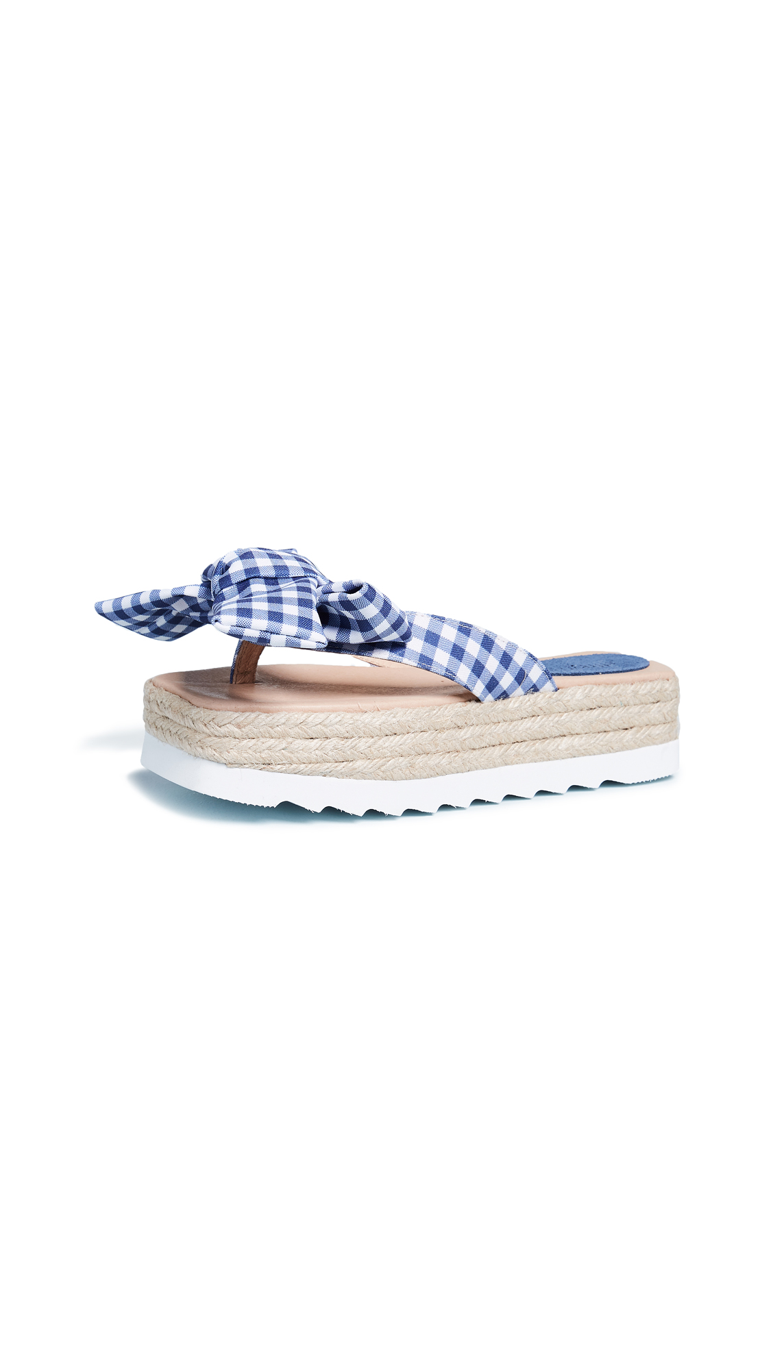 Jeffrey Campbell Gingham Bow Platform Slides - Blue/White