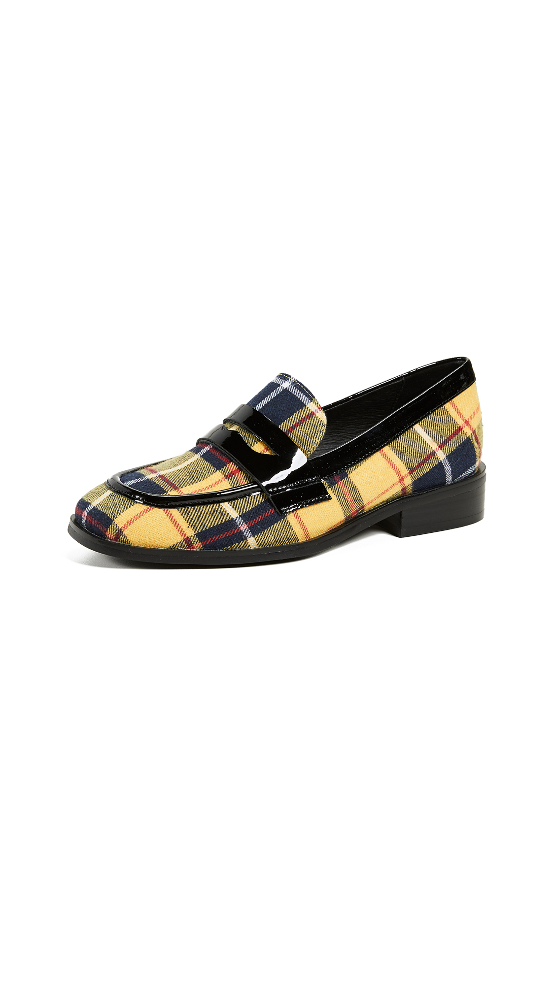 Jeffrey Campbell Hornsby Plaid Loafers - Yellow/Plaid