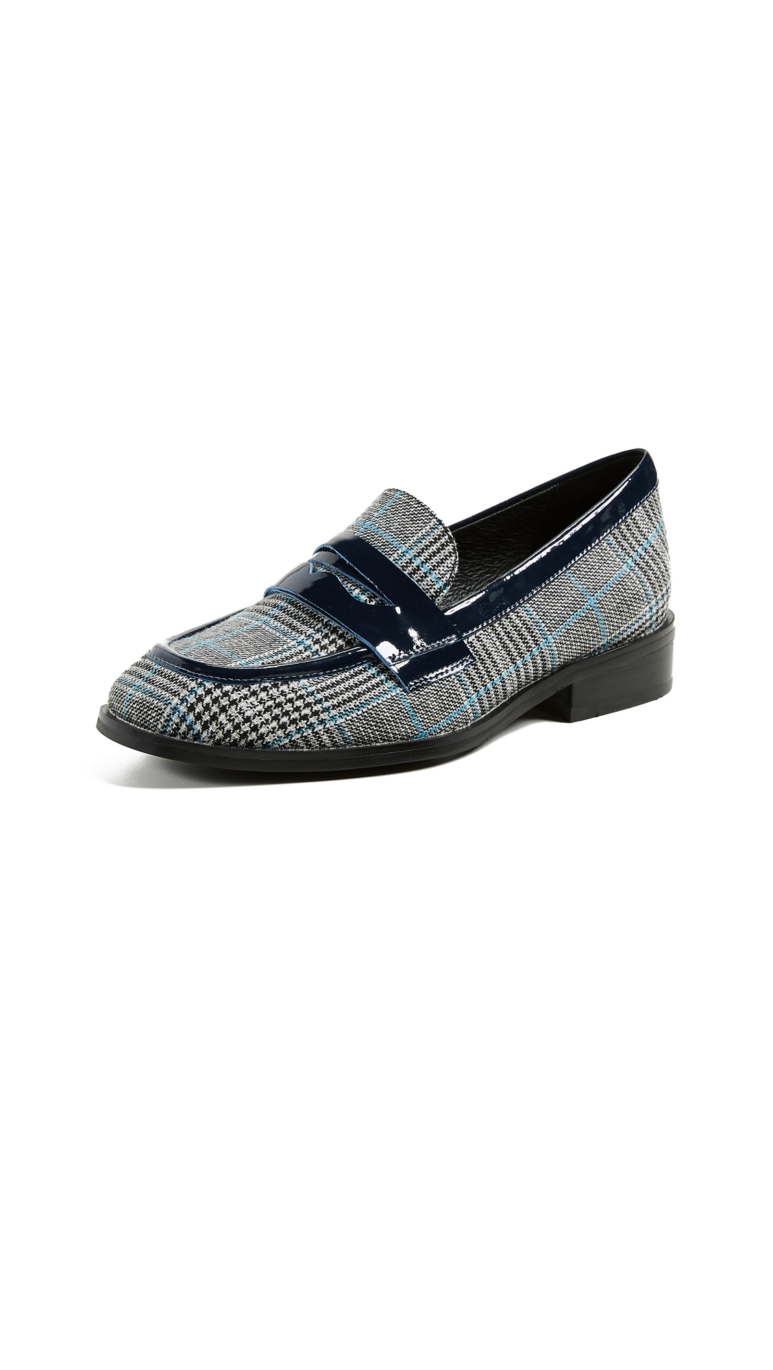 Jeffrey Campbell Hornsby Plaid Loafers - Black/White/Blue