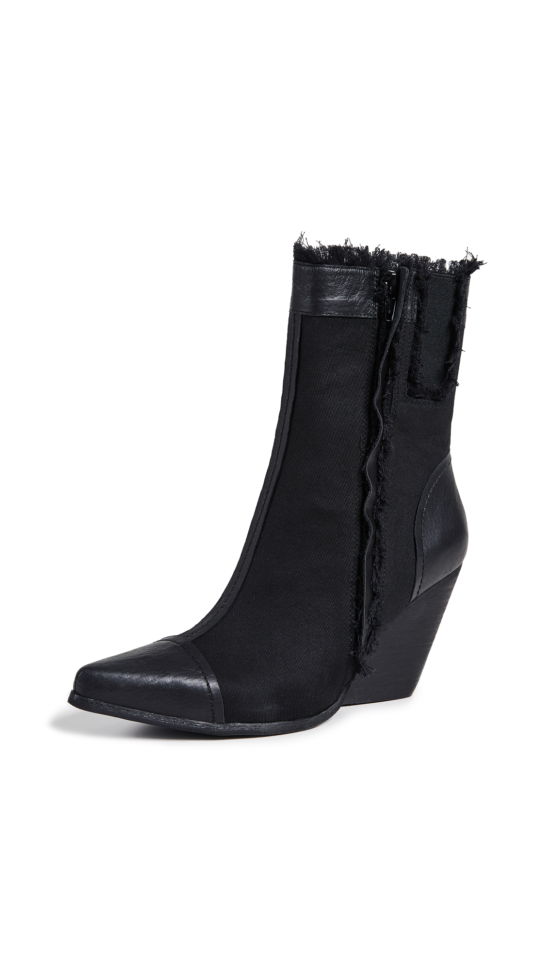 Jeffrey Campbell Unravel Point Toe Booties - Black Combo
