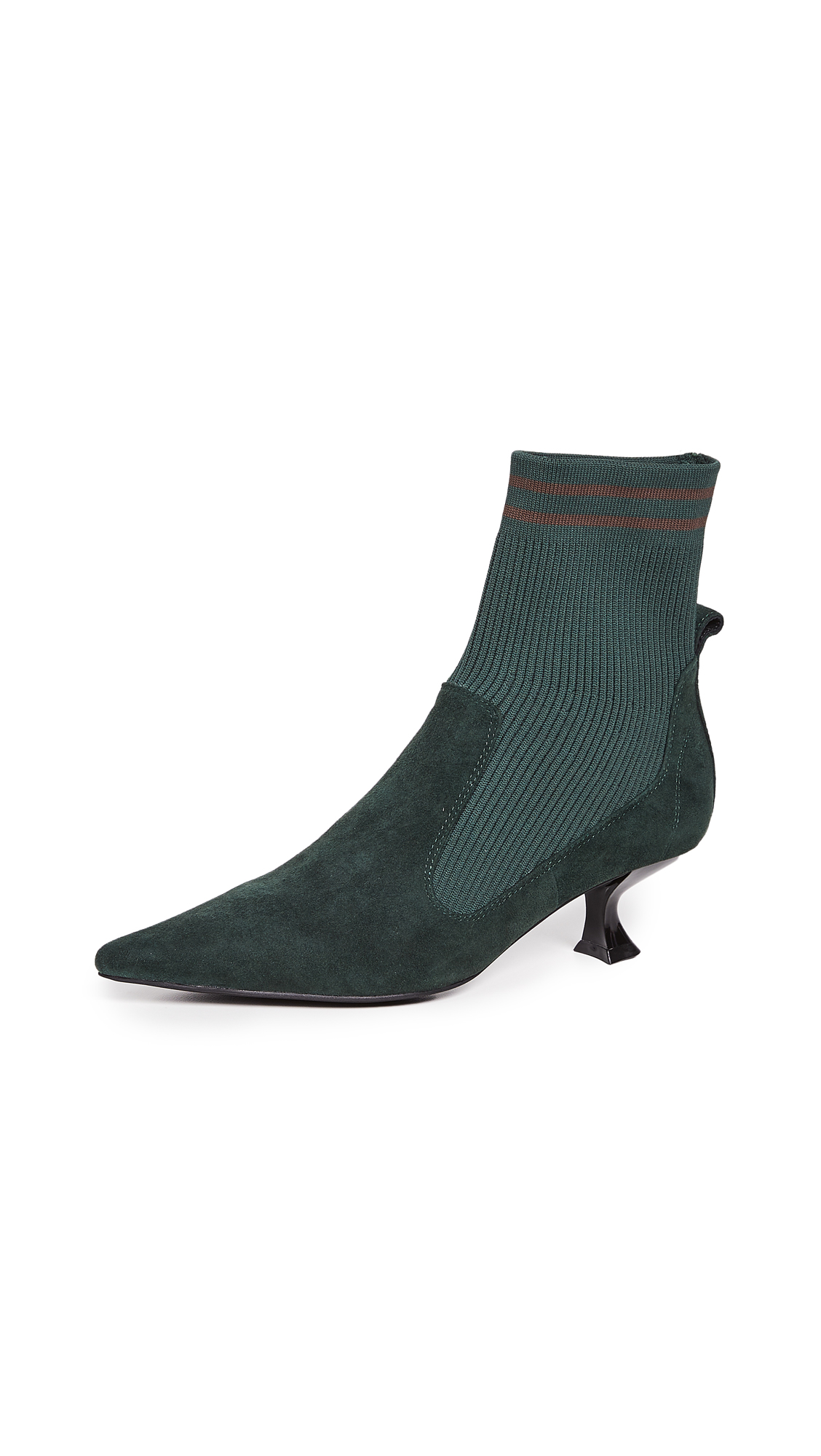 Jeffrey Campbell Morbid Sock Booties - Forest Green