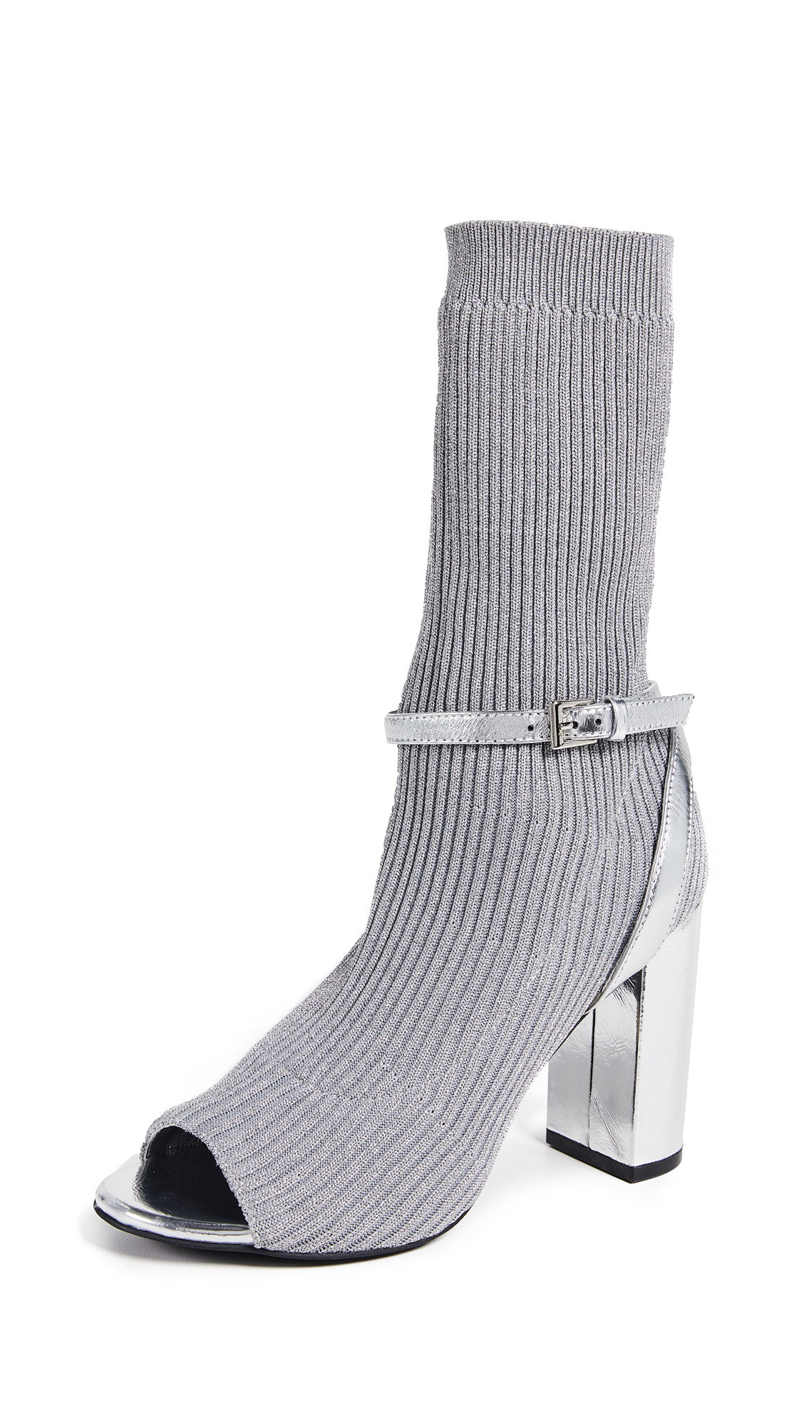 Nila Sock Booties, Silver
