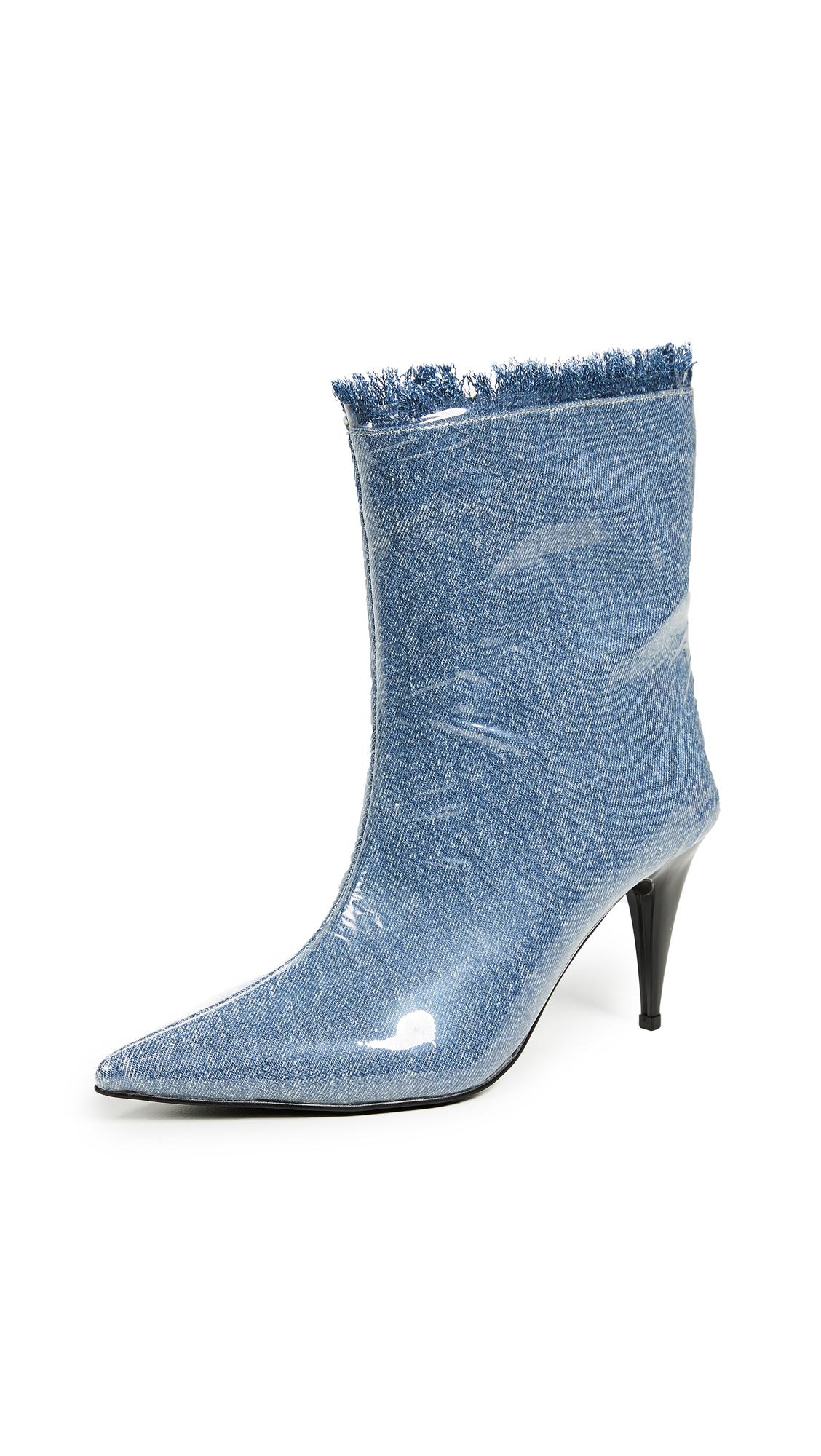 Jeffrey Campbell Plastique Point Toe Booties - Denim/Clear