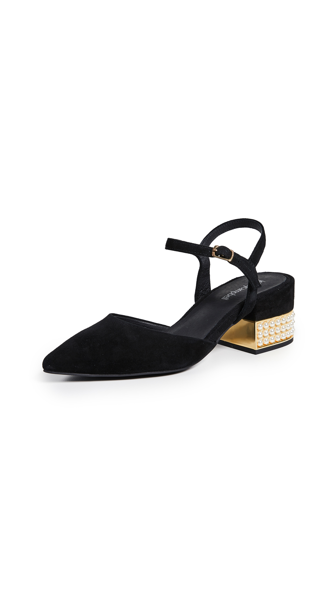 Jeffrey Campbell Tulip Ankle Strap Pumps - Black/Gold
