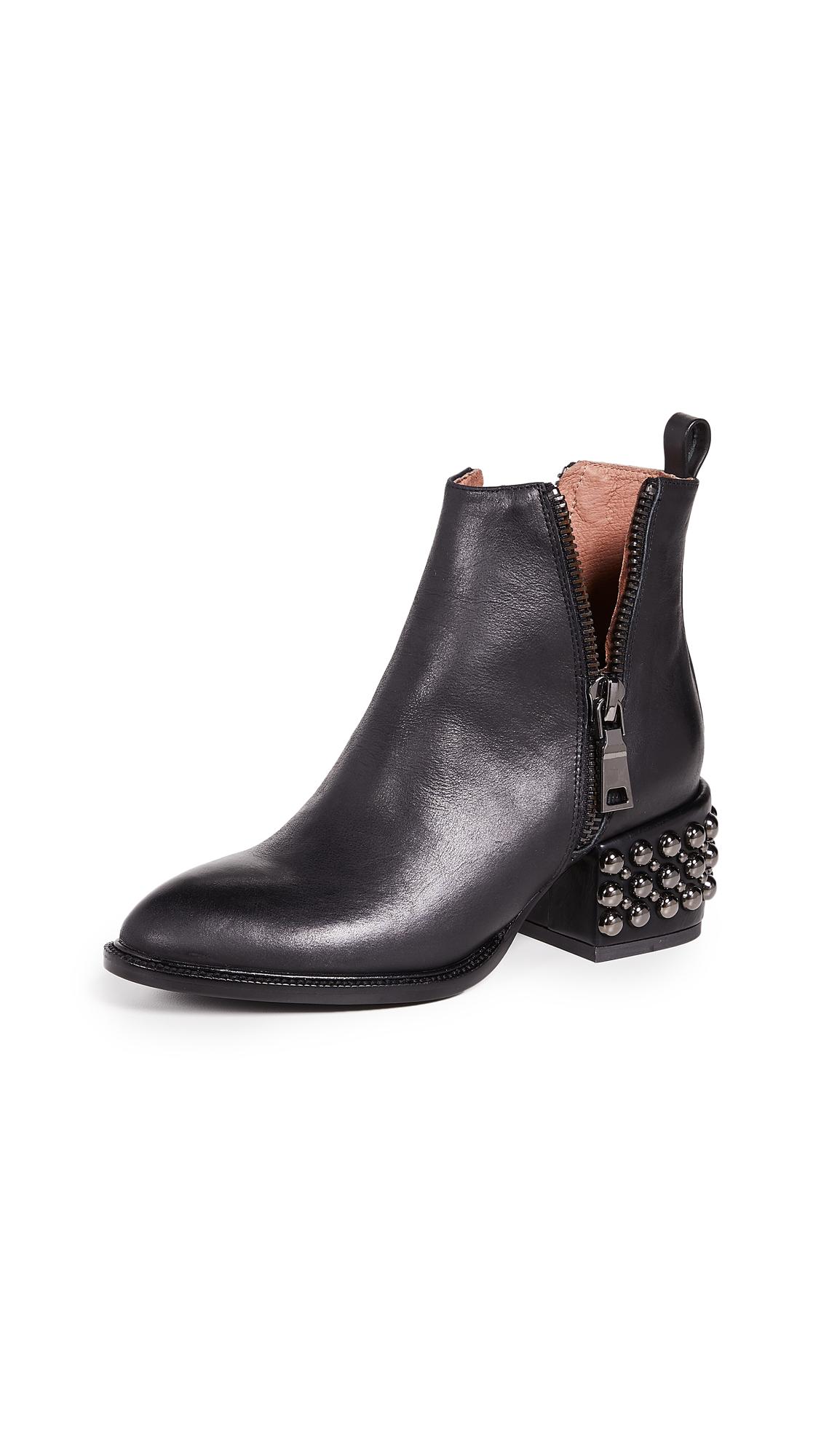 Jeffrey Campbell Boone Studded Heel Zip Booties - Black