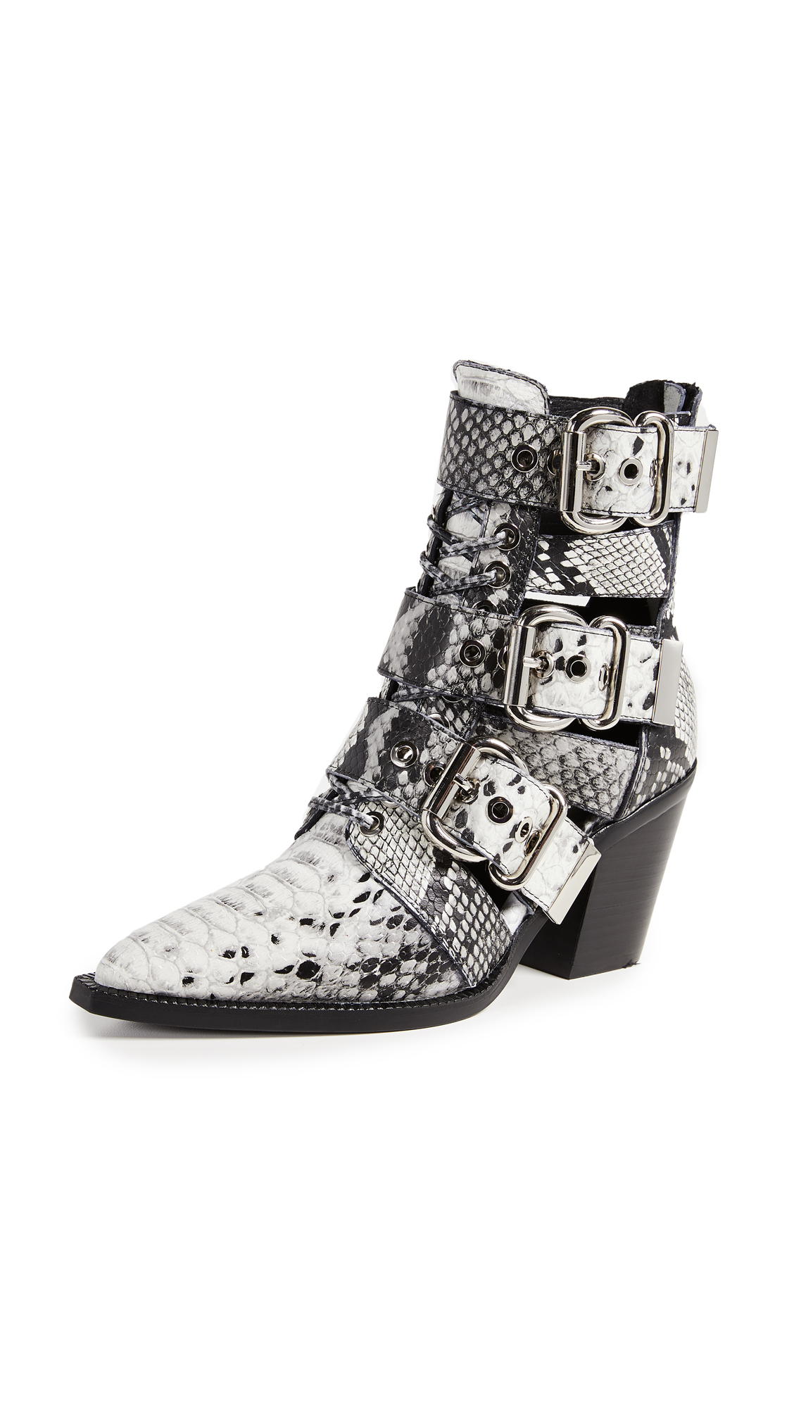 Jeffrey Campbell Caceres Buckle Booties - Black/White Snake