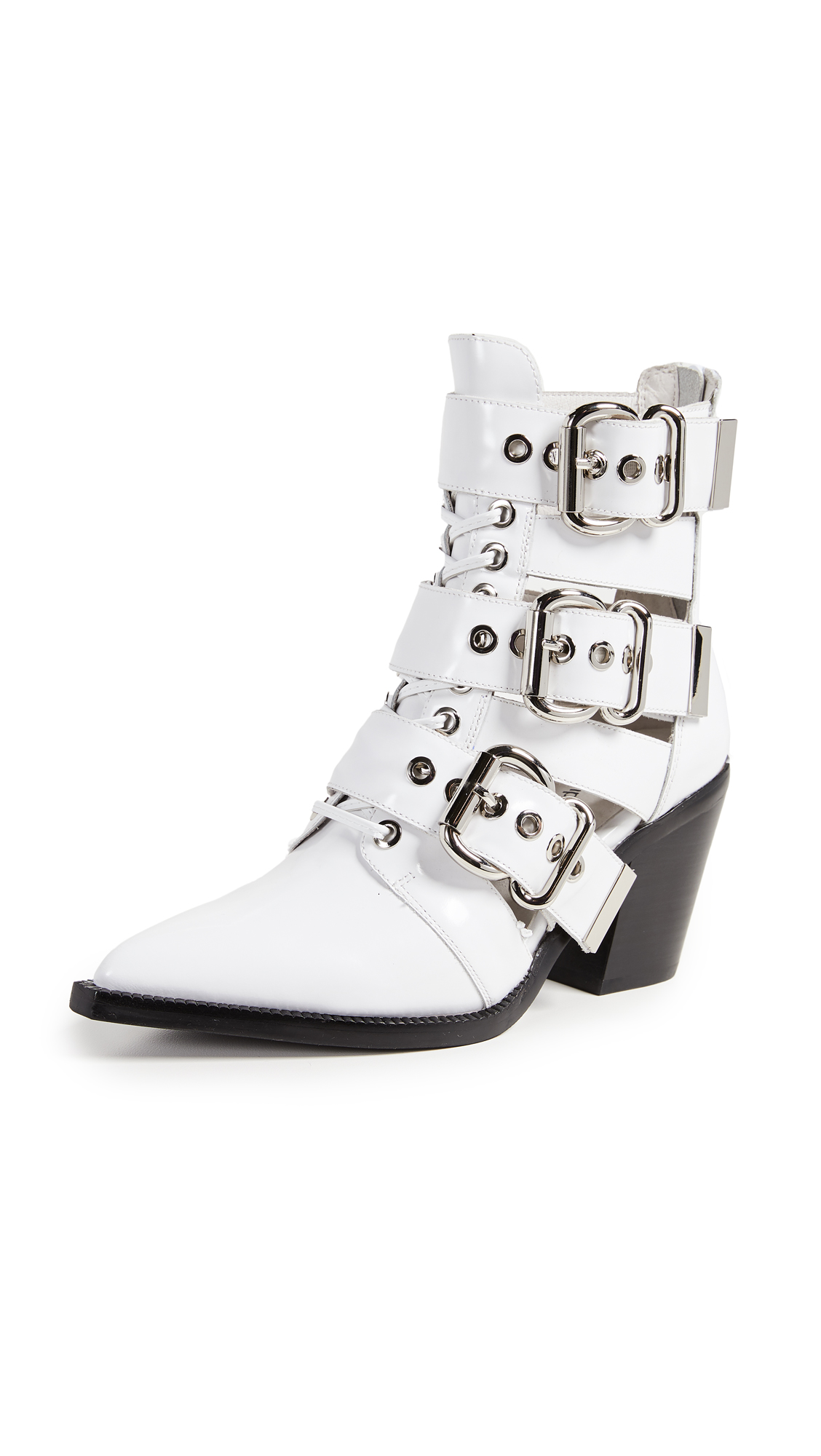 Jeffrey Campbell Caceres Buckle Booties - White Box