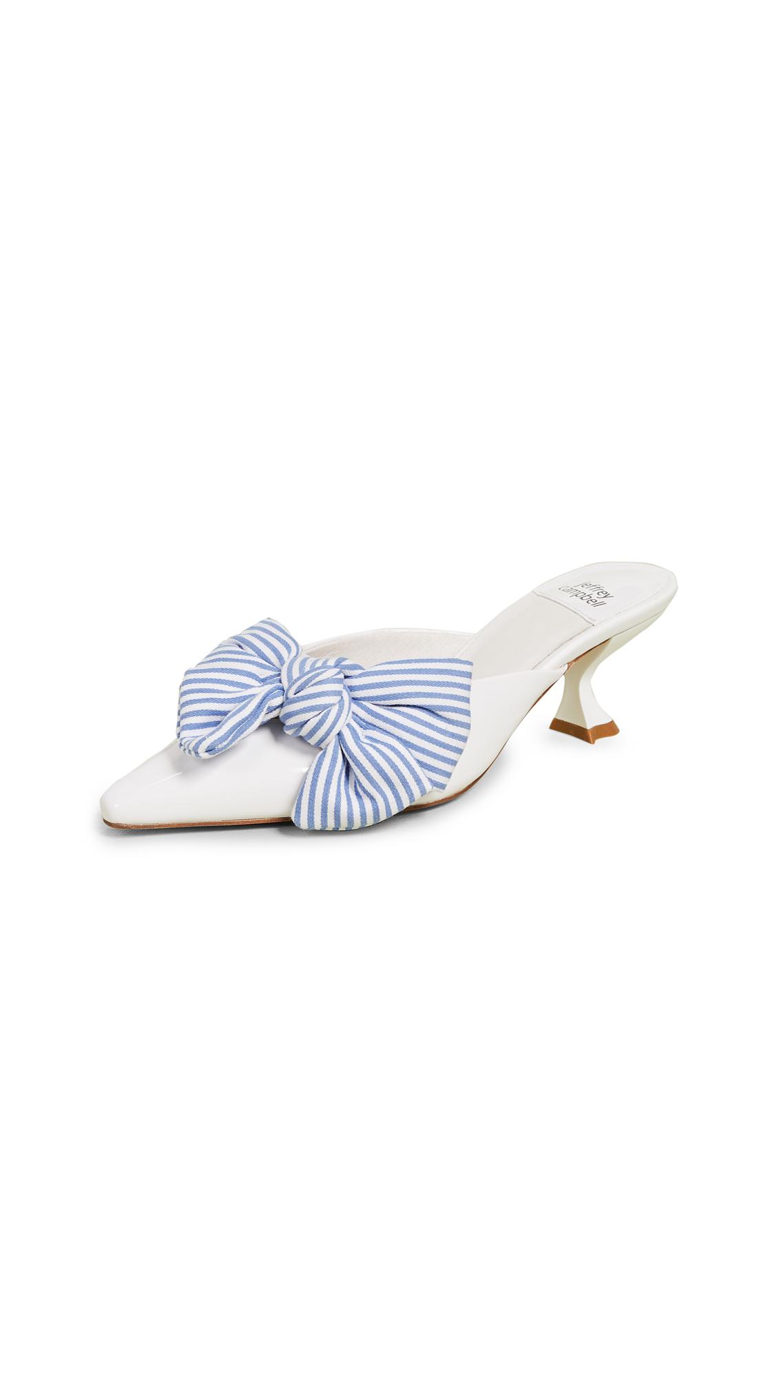 Jeffrey Campbell Adorn Kitten Heel Mules - White Patent Blue Shirt