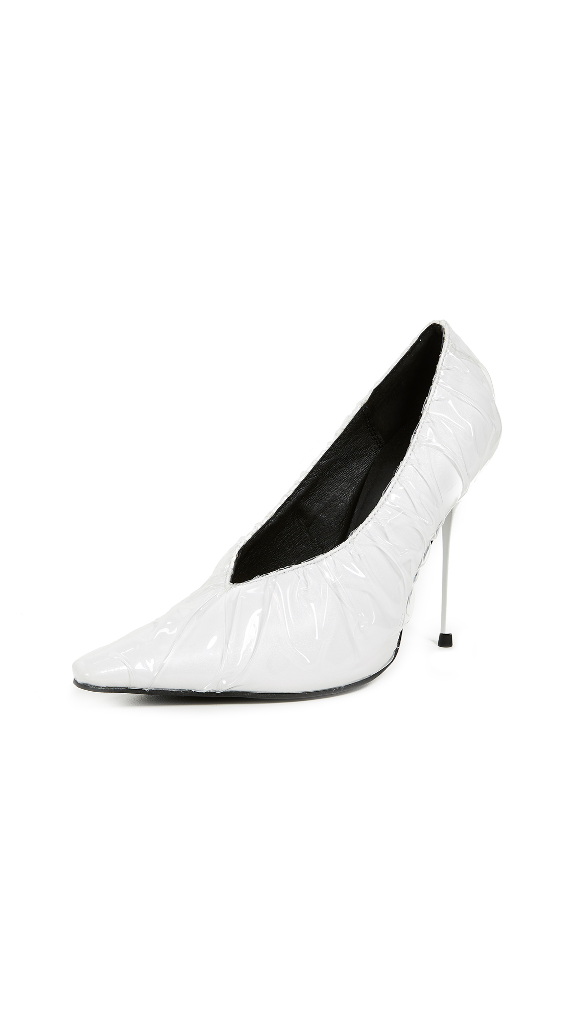 Jeffrey Campbell Ikon 3P Point Toe Pumps - White/Clear