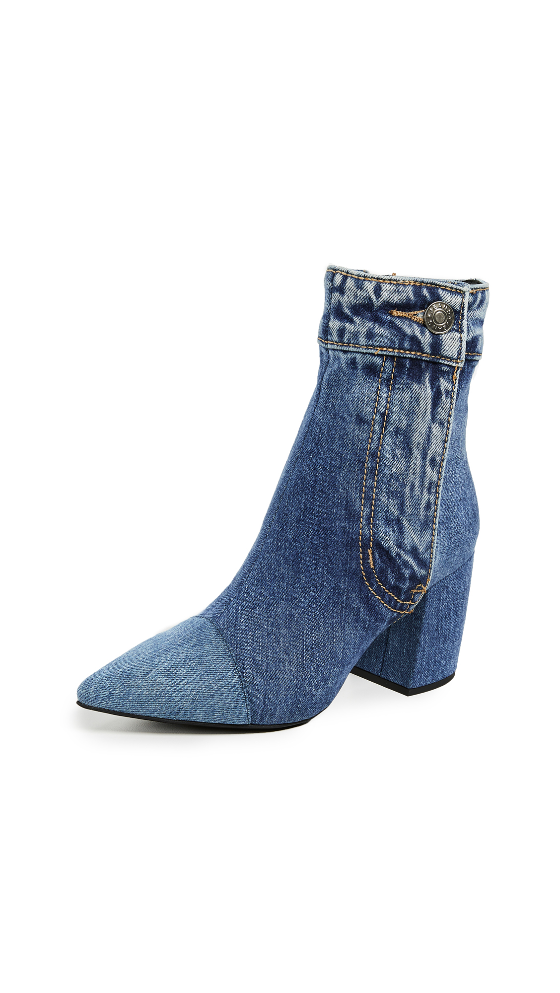 Jeffrey Campbell Finite Jn Block Heel Booties - Blue