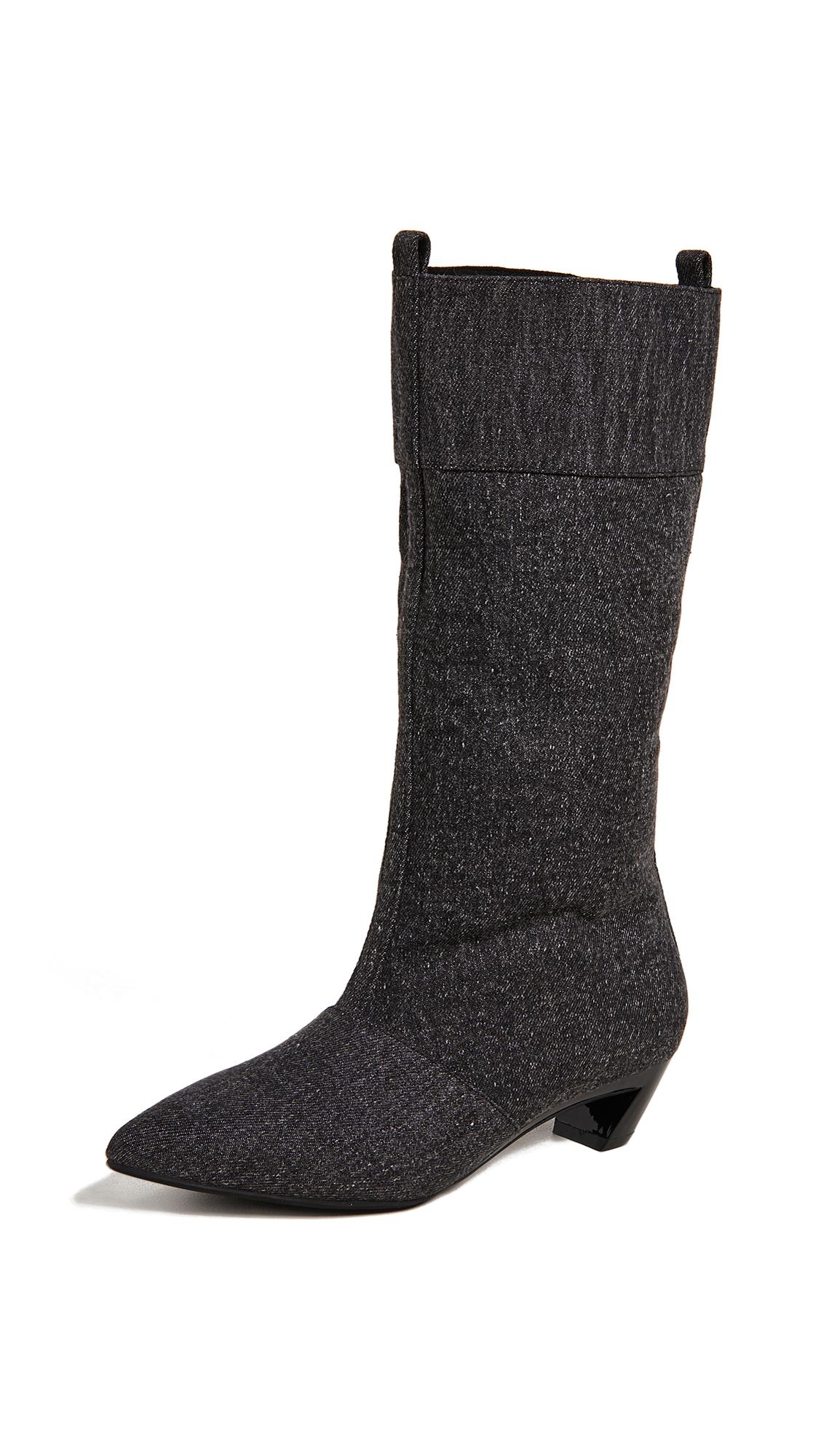 Jeffrey Campbell Hiroshi Kitten Heel Boots - Black