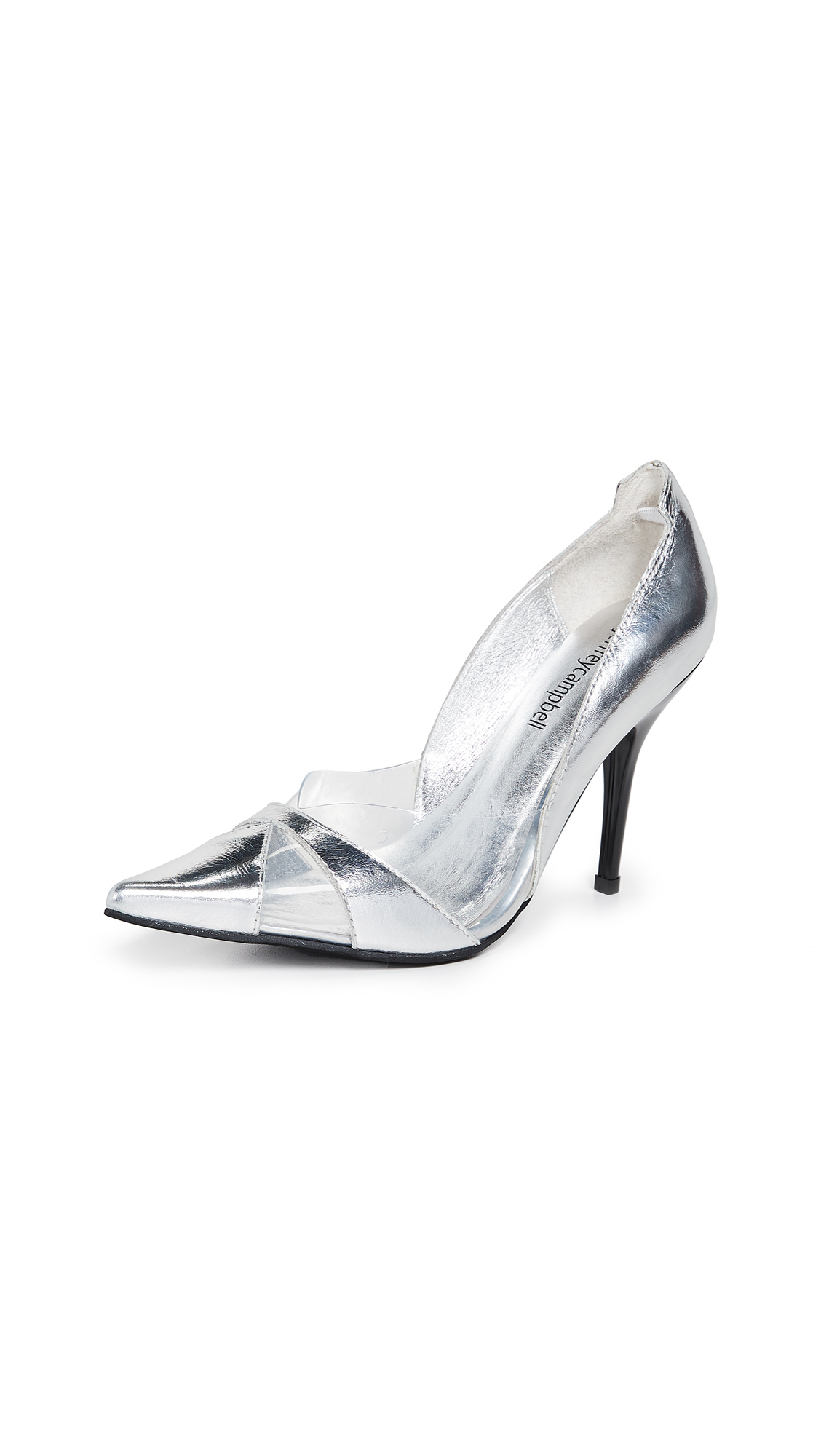 Jeffrey Campbell Luxury 2 Point Toe Pumps - Clear/Silver