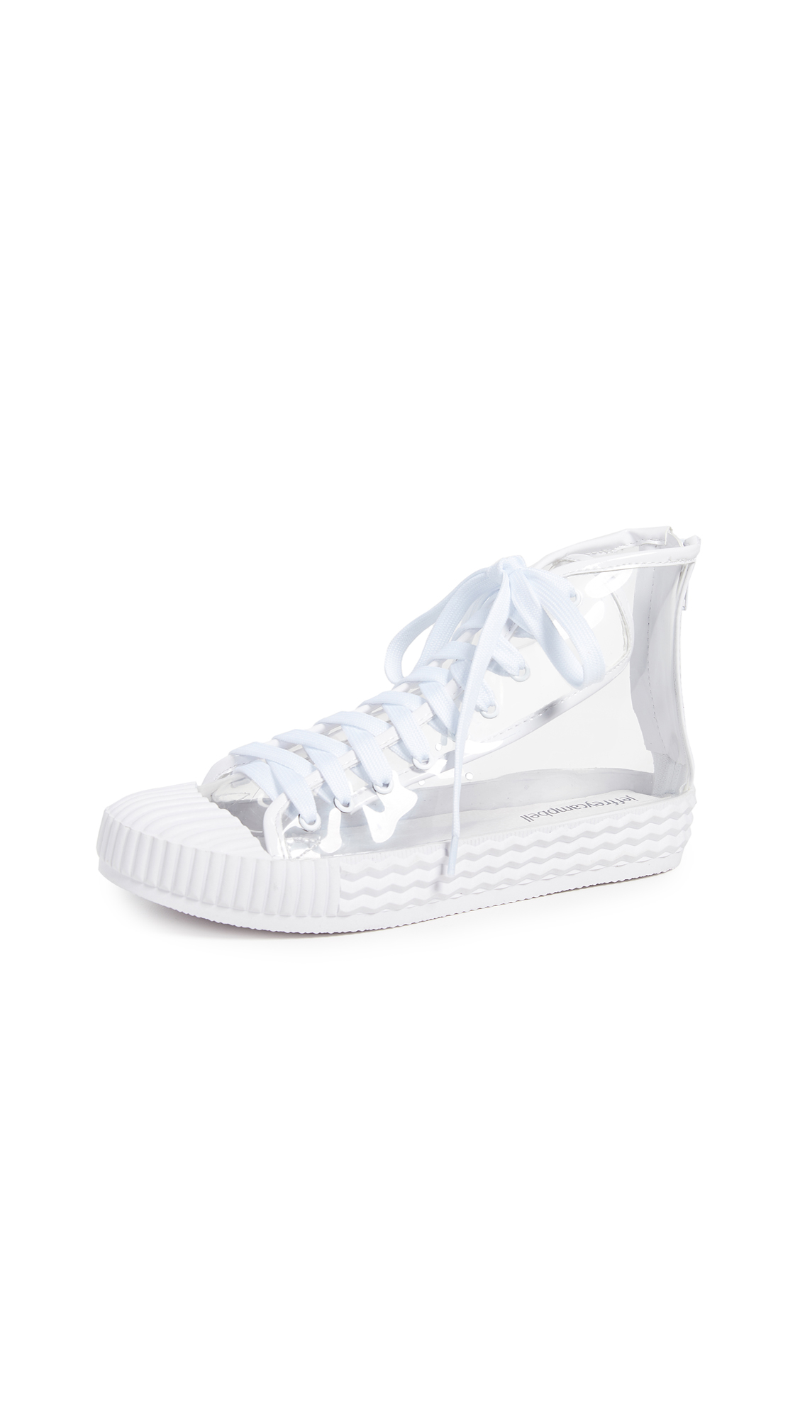 Jeffrey Campbell Ganador Vinyl High Top Sneakers - Clear White