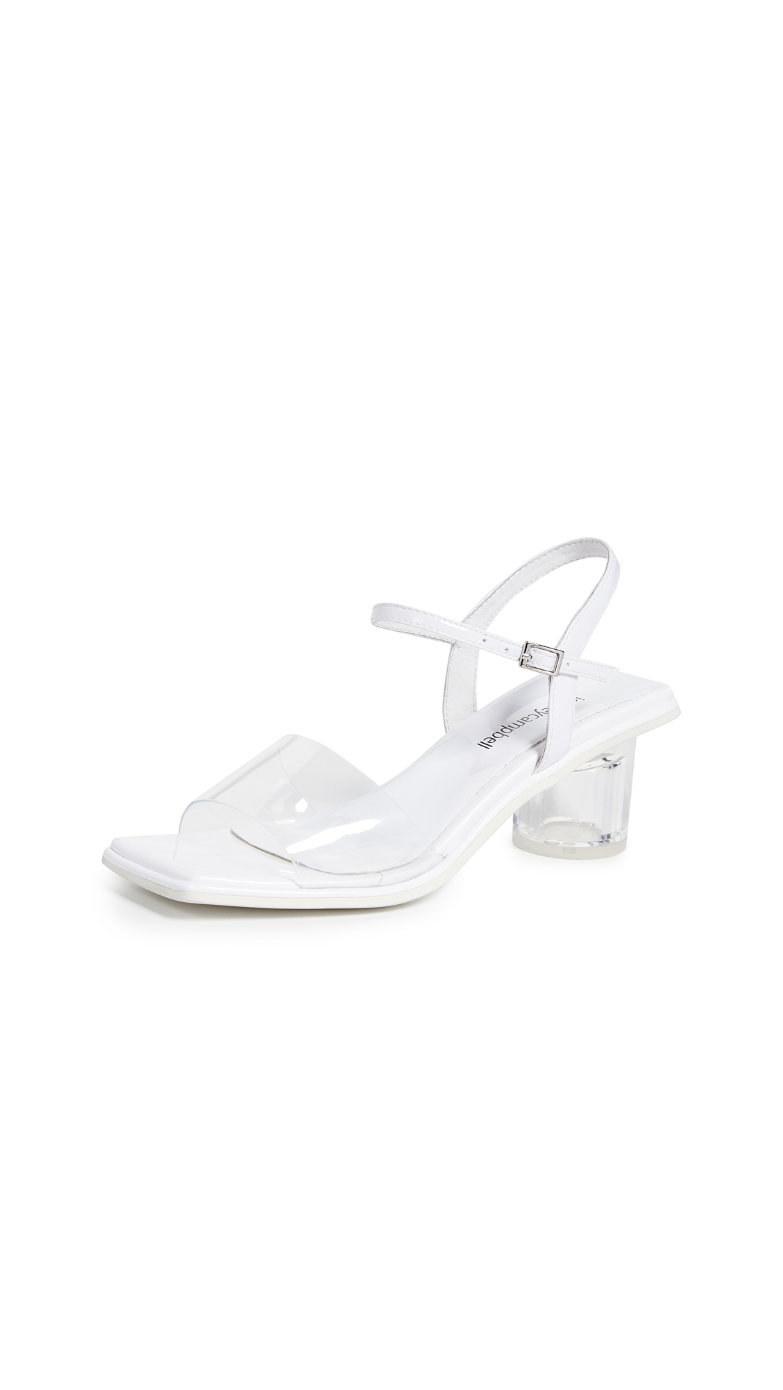 Jeffrey Campbell Futuro Vinyl Sandals - White/Clear