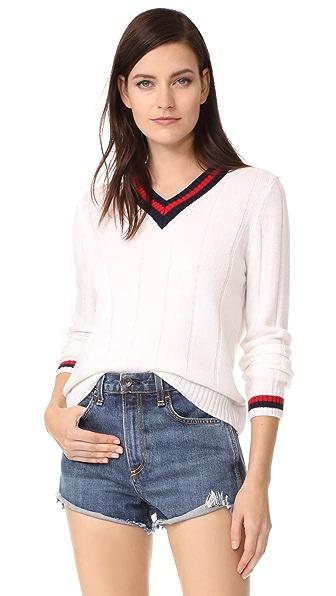 Jenni Kayne Cashmere Rib Cricket V Neck Sweater