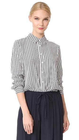Jenni Kayne Placket Back BF Shirt - Ivory/Black/Blue