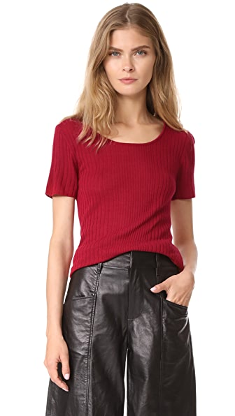 Jenni Kayne SS Mix Rib Scoop Neck - Red