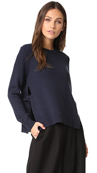 Jenni Kayne LS Crewneck with Ties In Navy