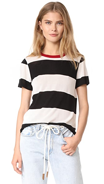 Jenni Kayne SS Stripe Tee - Ivory/Black/Red