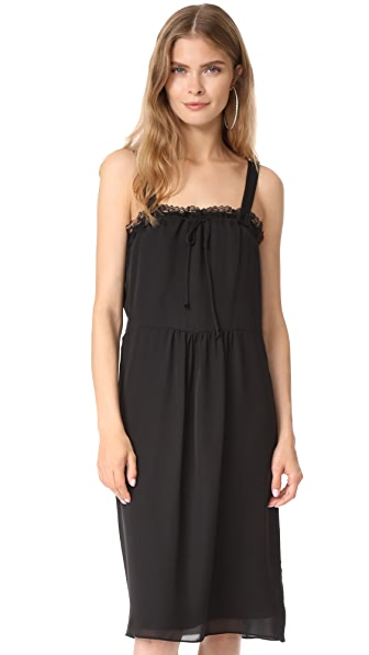 Jenni Kayne Gathered Lace Tie Dress In Black