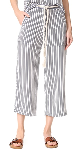 Jenni Kayne Drawstring Crop Pants In Ivory/Black/Blue