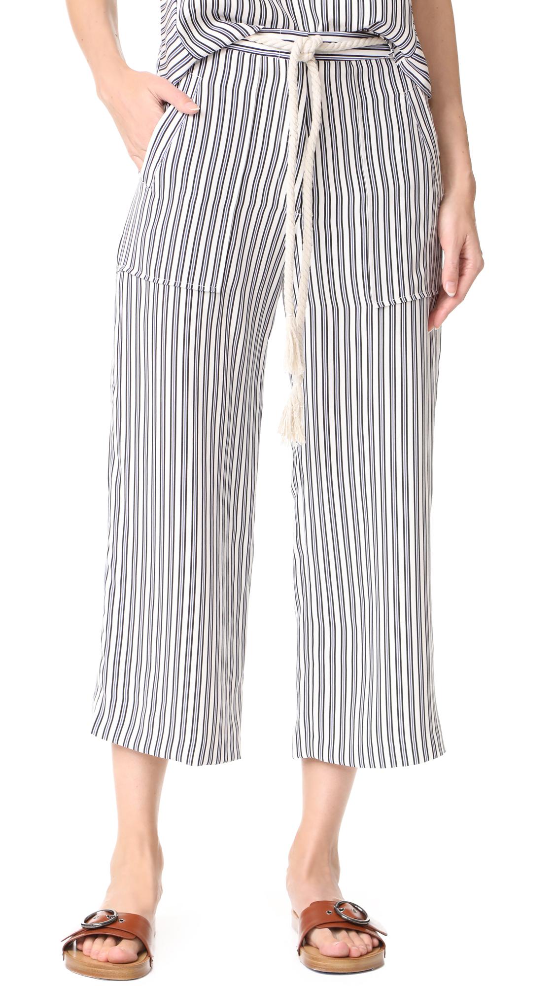 Jenni Kayne Drawstring Crop Pants - Ivory/Black/Blue