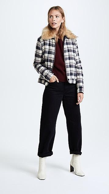 Jenni Kayne Fur Flannel Zip Jacket